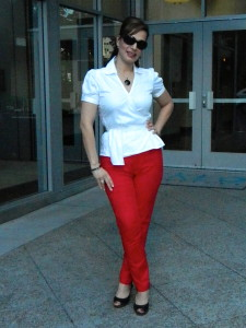 paola pic 3 red pants white top full body